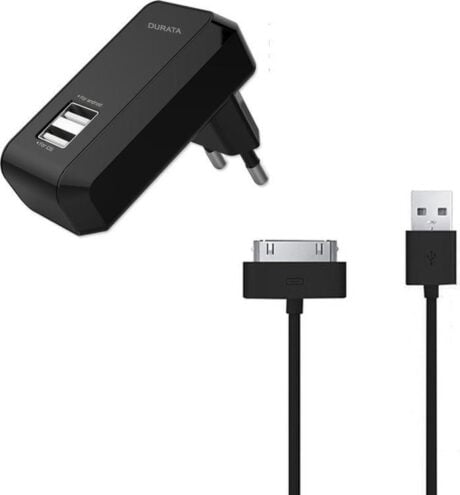 Durata DR-AC60 2.1A Dual USB lader / oplader voor met 1 30 Pin USB Kabel voor iPhone 3G 3GS 4 4S