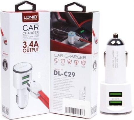 LDNIO C29 Dual USB Auto oplader 3.4A met 1 Meter USB Kabel geschikt voor o.a iPhone 5 5S 5C SE 6 6S 7 8 Plus X XS XR Max iPod touch 5 6