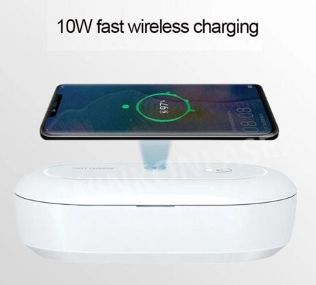 Mobile Phone Wireless Charging Sterilizing UV + Ozon Box  voor iPhone / Samsung / Airpods / QI geschikte Smartphones   Draadloze Oplader 10W Qi Fast Charger  Desinfectie Box