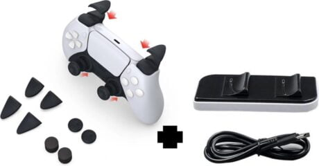 PS5 Accessoire set: Docking station + Thumb Grips & Trigger set | Playstation 5 | Oplaadstation | Thumb Sticks | Charging station | Anti Slip | Gaming accessoires